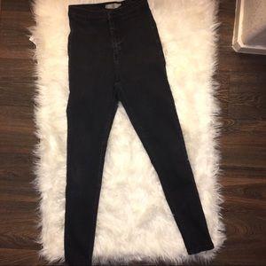 TOPSHOP Joni High Waisted Black Skinny Jeans